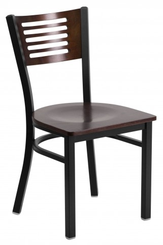 6G5B Hercules Series Black Slat Back Wood Restaurant Chair