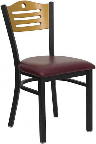 Hercules Black Slat Back Metal Restaurant Chair - Natural Wood Back, Burgundy Vinyl Seat