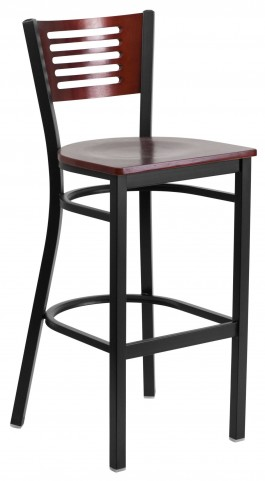 6H1B Hercules Series Black Slat Back Wood Restaurant Barstool