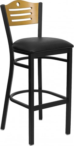 Hercules Black Slat Back Metal Restaurant Bar Stool - Natural Wood Back, Black Vinyl Seat