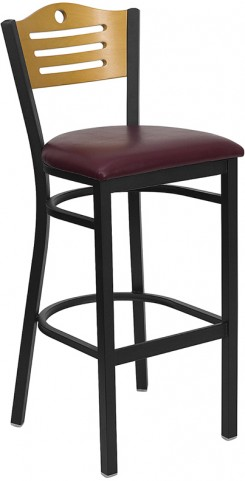 Hercules Black Slat Back Metal Restaurant Bar Stool - Natural Wood Back, Burgundy Vinyl Seat