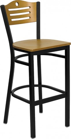 Hercules Slat Back Metal Restaurant Bar Stool Natural Wood Back & Seat