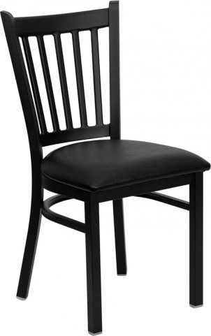 Hercules Black Vertical Back Metal Restaurant Chair W/Black Vinyl Seat