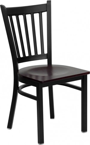 Hercules Black Vertical Back Metal Restaurant Chair Mahogany Wood Seat