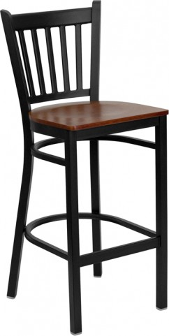 Hercules Black Vertical Back Metal Restaurant Bar Stool Cherry Seat