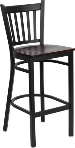 Hercules Black Vertical Back Metal Restaurant Bar Stool Mahogany Seat