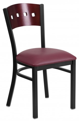 6Y1B Hercules Series Black 4 Square Back Burgundy Vinyl Restaurant Chair