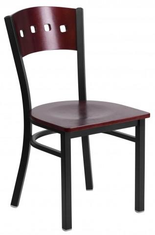 6Y1B Hercules Series Black 4 Square Back Wood Restaurant Chair