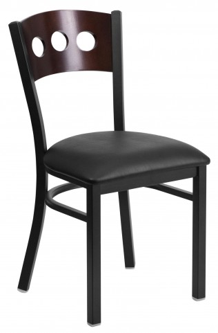 6Y2B Hercules Series Black 3 Circle Back Vinyl Restaurant Chair