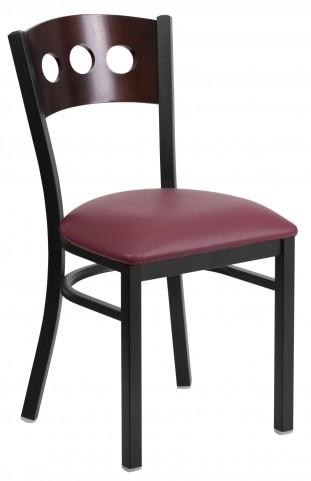 6Y2B Hercules Series Black 3 Circle Back Burgundy Vinyl Restaurant Chair