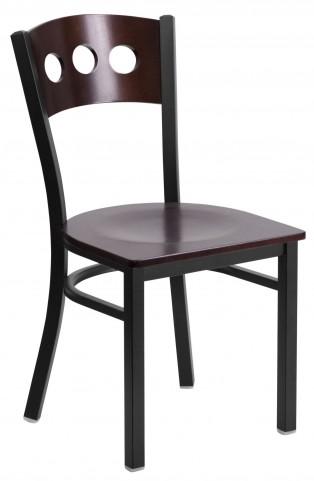 6Y2B Hercules Series Black 3 Circle Back Wood Restaurant Chair