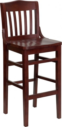 Hercules Mahogany School House Back Wooden Restaurant Bar Stool