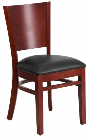 Lacey Series Solid Back Mahogany Wooden Black Vinyl Restaurant Chair