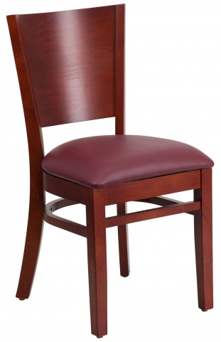 Lacey Series Solid Back Mahogany Wooden Burgundy Vinyl Restaurant Chair