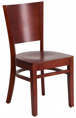 Lacey Series Solid Back Mahogany Wooden Restaurant Chair