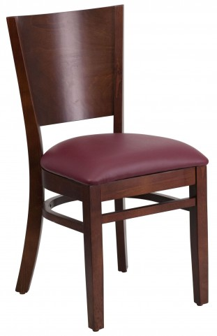 Lacey Series Solid Back Walnut Wooden Burgundy Vinyl Restaurant Chair