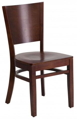 Lacey Series Solid Back Walnut Wooden Restaurant Chair