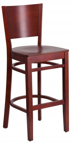 Lacey Series Solid Back Mahogany Wooden Restaurant Barstool