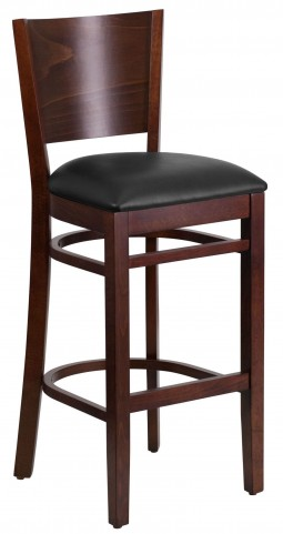 Lacey Series Solid Back Walnut Wooden Black Vinyl Restaurant Barstool