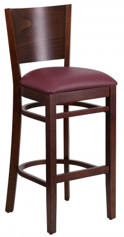 Lacey Series Solid Back Walnut Wooden Burgundy Vinyl Restaurant Barstool