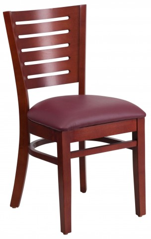 Darby Series Slat Back Mahogany Wooden Burgundy Vinyl Restaurant Chair