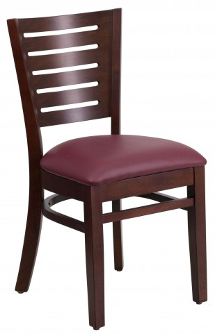 Darby Series Slat Back Walnut Wooden Burgundy Vinyl Restaurant Chair