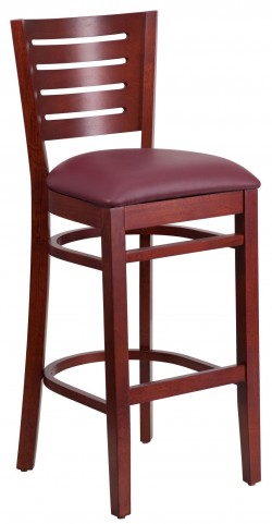 Darby Series Slat Back Mahogany Wooden Burgundy Vinyl Restaurant Barstool