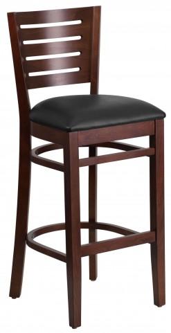 Darby Series Slat Back Walnut Wooden Black Vinyl Restaurant Barstool
