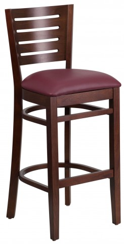 Darby Series Slat Back Walnut Wooden Burgundy Vinyl Restaurant Barstool