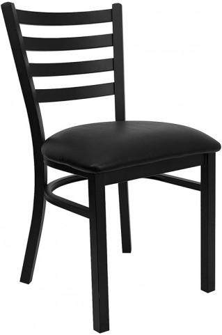 6562 Hercules Black Ladder Back Metal Restaurant Chair - Black Vinyl Seat