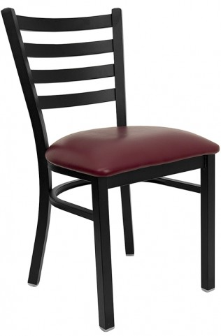 6563 Hercules Black Ladder Back Metal Restaurant Chair Burgundy Vinyl Seat