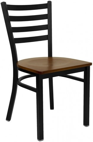 6564 Hercules Black Ladder Back Metal Restaurant Chair - Cherry Wood Seat