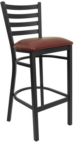 6491 Hercules Black Ladder Back Metal Restaurant Bar Stool Vinyl Seat