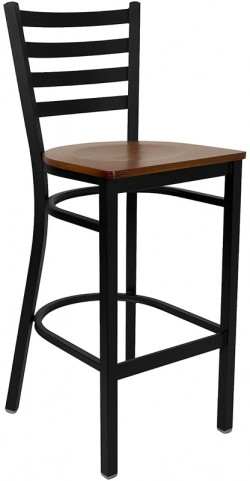6492 Hercules Black Ladder Back Metal Restaurant Bar Stool Cherry Wood Seat