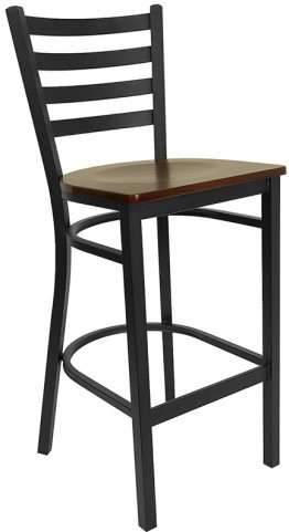 6493 Hercules Black Ladder Back Metal Restaurant Bar Stool Mahogany Seat