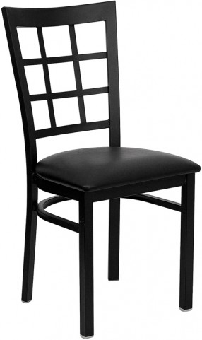 Hercules Black Window Back Metal Restaurant Chair - Black Vinyl Seat