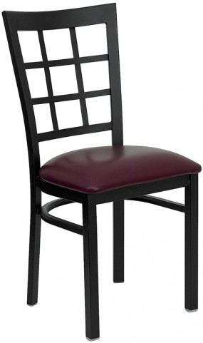 Hercules Black Window Back Metal Restaurant Chair Burgundy Vinyl Seat