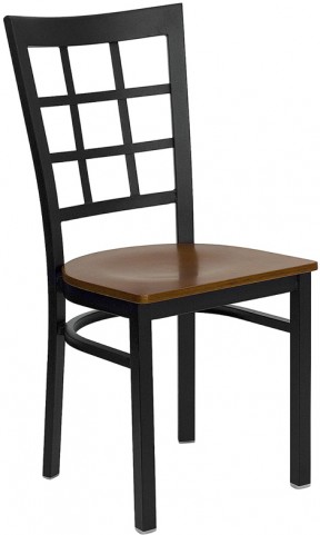 Hercules Black Window Back Metal Restaurant Chair - Cherry Wood Seat