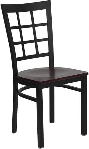 Hercules Black Window Back Metal Restaurant Chair W/Mahogany Wood Seat