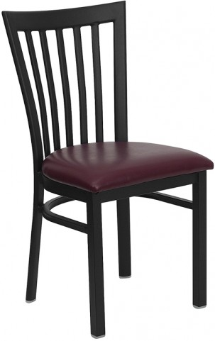 Hercules Black School House Back Metal Restaurant Chair Burgundy Seat