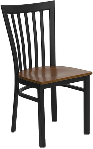 Hercules Black School House Back Metal Restaurant Chair Cherry Seat