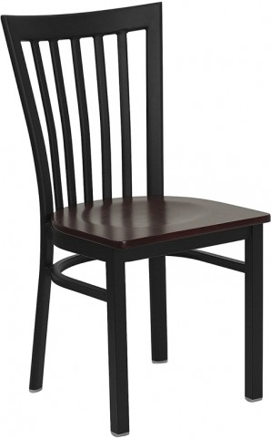 Hercules Black School House Back Metal Restaurant Chair Mahogany Seat