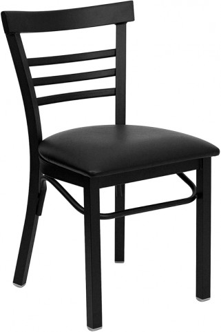 6574 Hercules Black Ladder Back Metal Restaurant Chair - Black Vinyl Seat