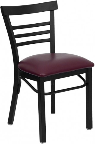 6575 Hercules Black Ladder Back Metal Restaurant Chair Burgundy Vinyl Seat