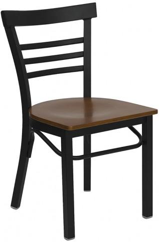 6576 Hercules Black Ladder Back Metal Restaurant Chair - Cherry Wood Seat