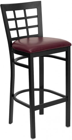 Hercules Black Window Back Metal Restaurant Bar Stool Vinyl Seat