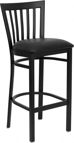 Hercules School House Back Metal Restaurant Bar Stool Black Vinyl Seat