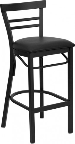 6502 Hercules Black Ladder Back Metal Restaurant Bar Stool Black Vinyl Seat