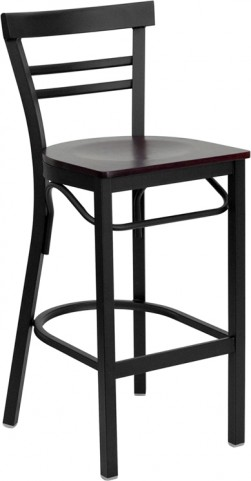 6505 Hercules Black Ladder Back Metal Restaurant Bar Stool Mahogany Seat