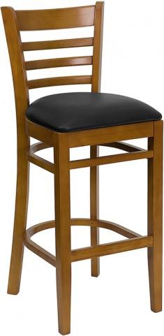 Hercules Cherry Finished Ladder Back Wooden Restaurant Bar Stool - Black Vinyl Seat